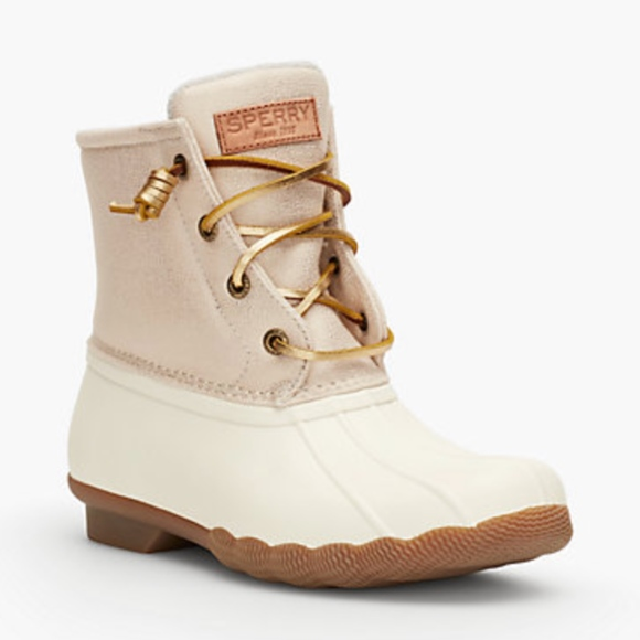 Sperry Saltwater Sparkle Rainboots Gold